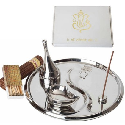 Personalized Ganeshji Pooja Thali In Special White Box