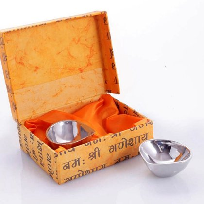 Personalized Set of 2 Steel Diya In Handcrafted Box