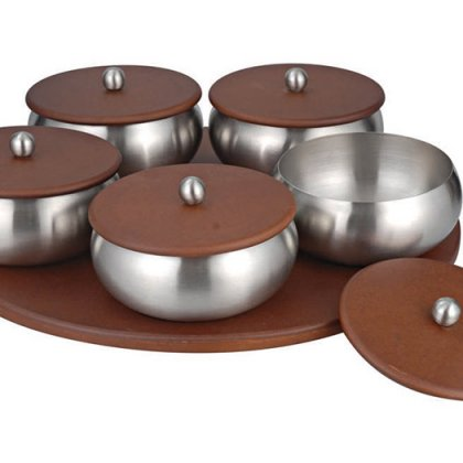 Personalized Fabia Revolving Tray of 5 Savvy Bowls With Wooden Li