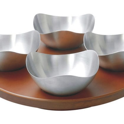 Personalized Revolving Snacks Tray With 4 Savvy Bowls